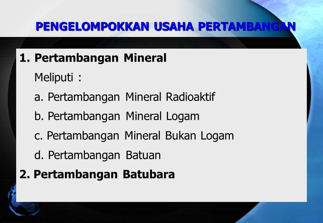 1.Pertambangan Mineral Meliputi : a.Pertambangan Mineral Radioaktif b.