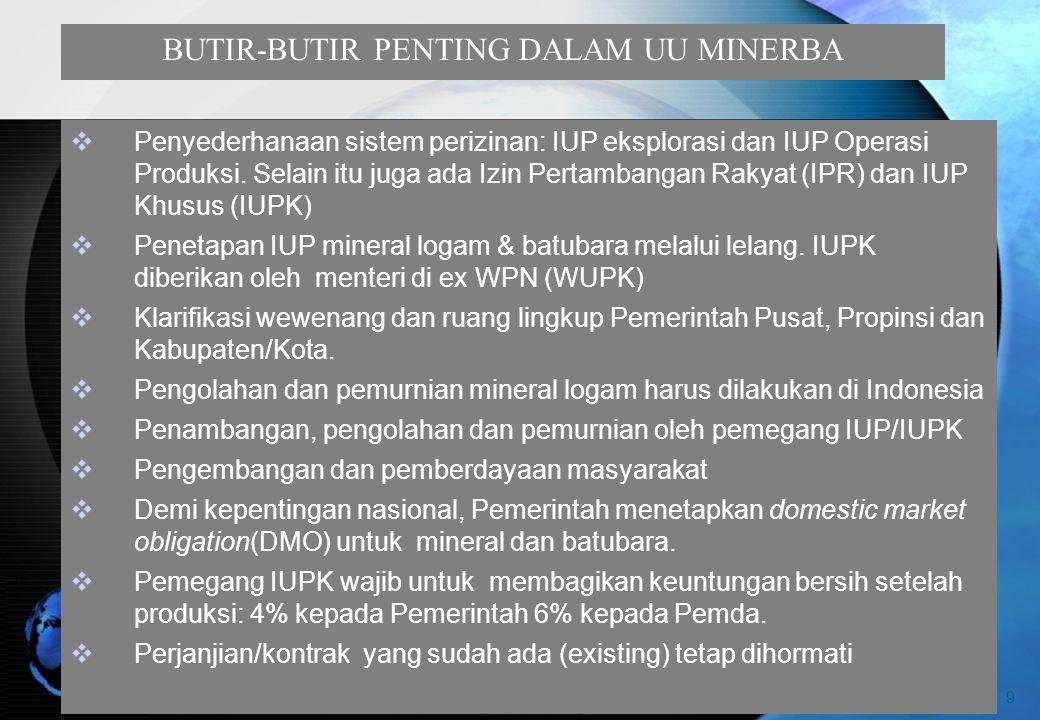 9 BUTIR-BUTIR PENTING DALAM UU MINERBA  Penyederhanaan sistem perizinan: IUP eksplorasi dan IUP Operasi Produksi.