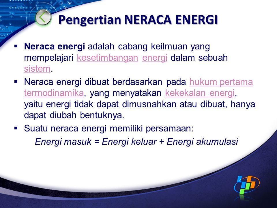 Pengertian NERACA ENERGI  Neraca energi adalah cabang keilmuan yang mempelajari kesetimbangan energi dalam sebuah sistem.kesetimbanganenergi sistem  Neraca energi dibuat berdasarkan pada hukum pertama termodinamika, yang menyatakan kekekalan energi, yaitu energi tidak dapat dimusnahkan atau dibuat, hanya dapat diubah bentuknya.hukum pertama termodinamikakekekalan energi  Suatu neraca energi memiliki persamaan: Energi masuk = Energi keluar + Energi akumulasi