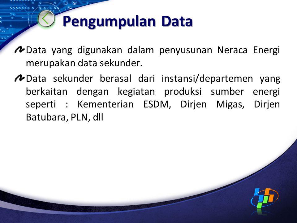 Pengumpulan Data Data yang digunakan dalam penyusunan Neraca Energi merupakan data sekunder. Data sekunder berasal dari instansi/departemen yang berka