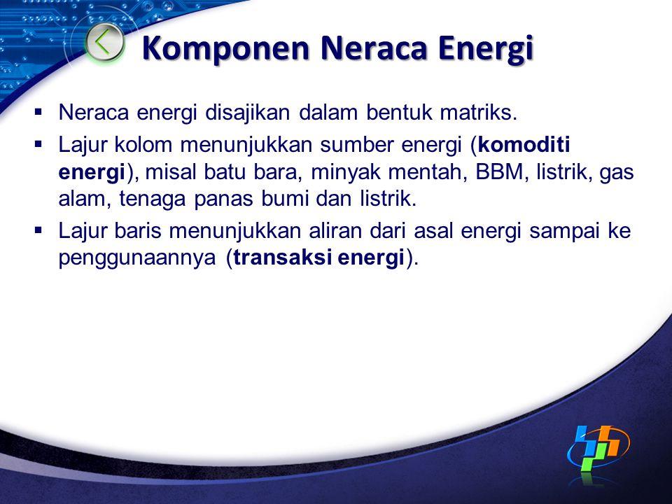 Komponen Neraca Energi  Neraca energi disajikan dalam bentuk matriks.  Lajur kolom menunjukkan sumber energi (komoditi energi), misal batu bara, min
