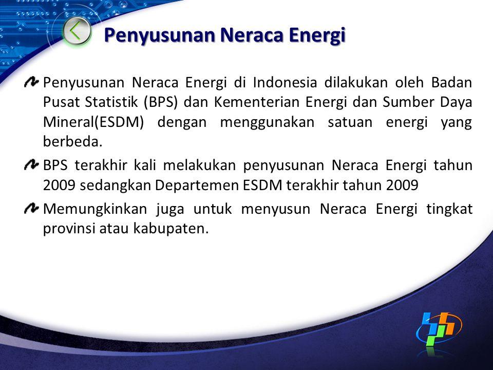 Penyusunan Neraca Energi Penyusunan Neraca Energi di Indonesia dilakukan oleh Badan Pusat Statistik (BPS) dan Kementerian Energi dan Sumber Daya Miner