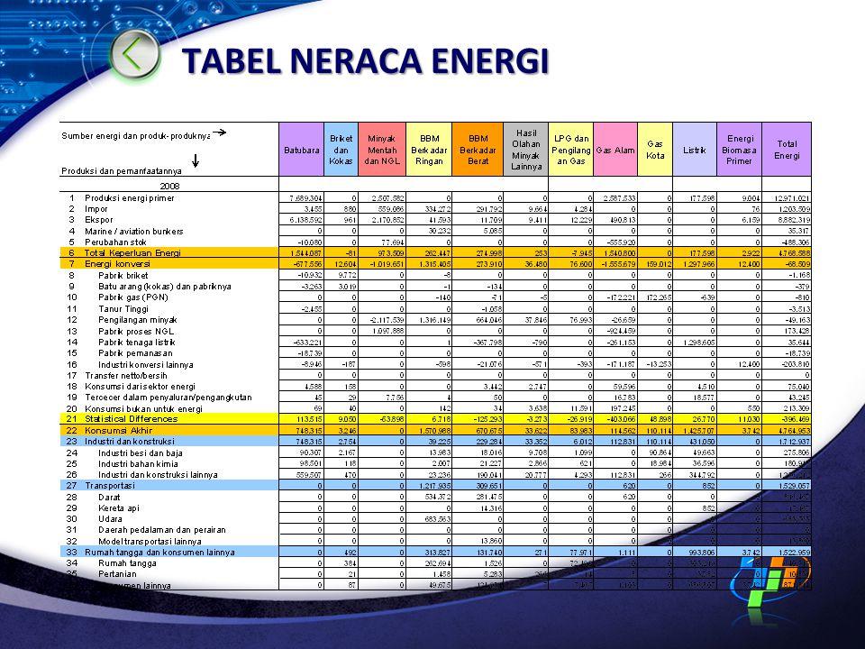 TABEL NERACA ENERGI