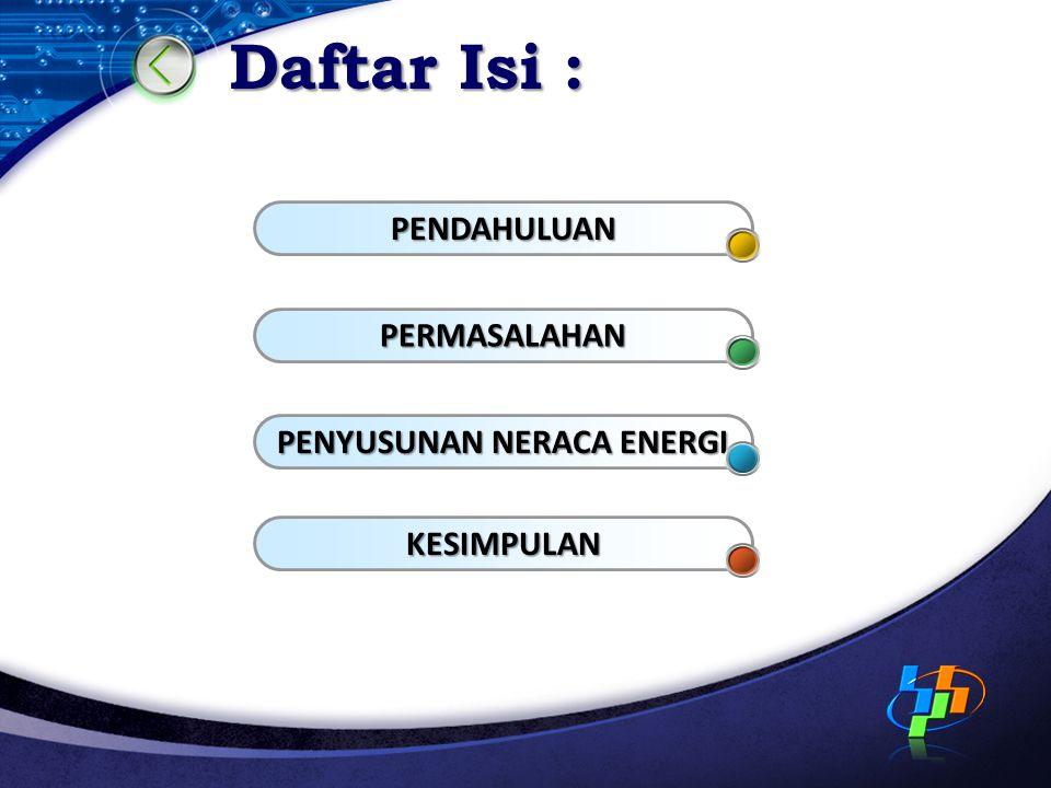 PENDAHULUAN Energi berperan penting dalam kehidupan manusia sebagai input bagi pembangunan sosial dan ekonomi ; Setiap usaha untuk menghasilkan barang dan jasa dan meningkatkan daya gunanya memerlukan peralatan dan teknologi; Peralatan dan teknologi membutuhkan energi sebagai tenaga penggerak; Pertumbuhan ekonomi berakibat pada peningkatan kebutuhan energi;
