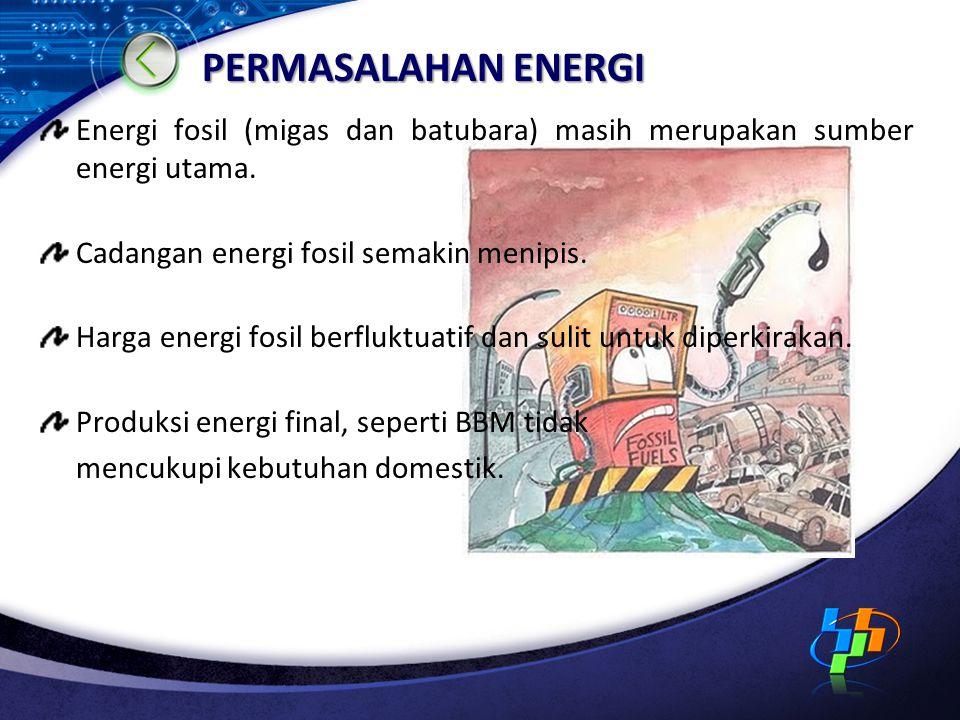 PERMASALAHAN ENERGI Energi fosil (migas dan batubara) masih merupakan sumber energi utama. Cadangan energi fosil semakin menipis. Harga energi fosil b