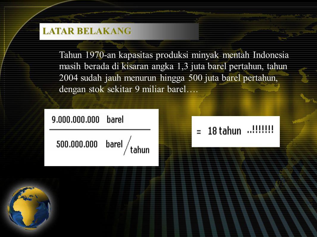 Tahun 1970-an kapasitas produksi minyak mentah Indonesia masih berada di kisaran angka 1,3 juta barel pertahun, tahun 2004 sudah jauh menurun hingga 500 juta barel pertahun, dengan stok sekitar 9 miliar barel….