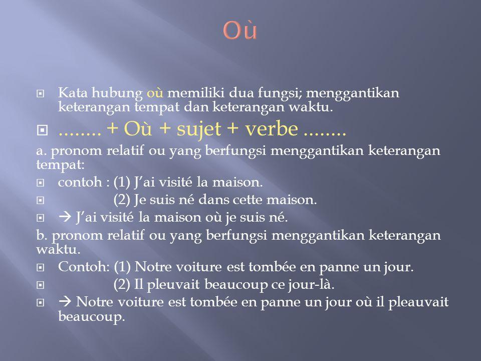  Kata hubung où memiliki dua fungsi; menggantikan keterangan tempat dan keterangan waktu. ........ + Où + sujet + verbe........ a. pronom relatif ou