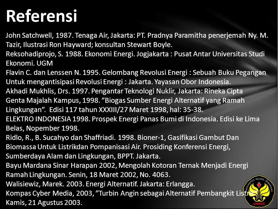 Referensi John Satchwell, 1987. Tenaga Air, Jakarta: PT.