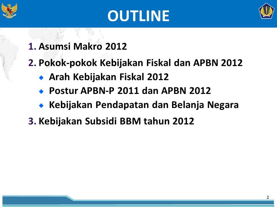 1.Asumsi Makro 2012 2.Pokok-pokok Kebijakan Fiskal dan APBN 2012 Arah Kebijakan Fiskal 2012 Postur APBN-P 2011 dan APBN 2012 Kebijakan Pendapatan dan Belanja Negara 3.Kebijakan Subsidi BBM tahun 2012 OUTLINE 2 2