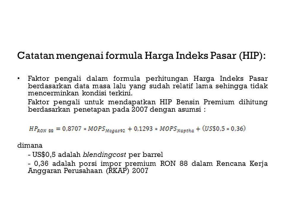 Catatan mengenai formula Harga Indeks Pasar (HIP): Faktor pengali dalam formula perhitungan Harga Indeks Pasar berdasarkan data masa lalu yang sudah relatif lama sehingga tidak mencerminkan kondisi terkini.