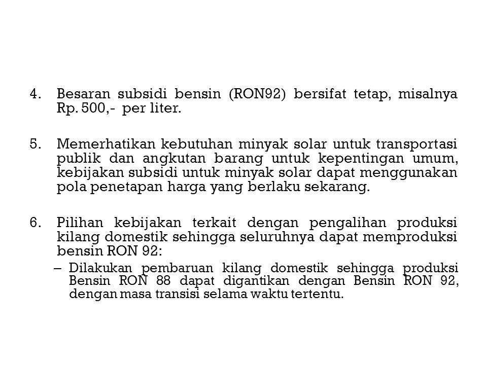 4.Besaran subsidi bensin (RON92) bersifat tetap, misalnya Rp.