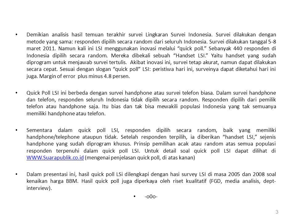 Demikian analisis hasil temuan terakhir survei Lingkaran Survei Indonesia. Survei dilakukan dengan metode yang sama: responden dipilih secara random d