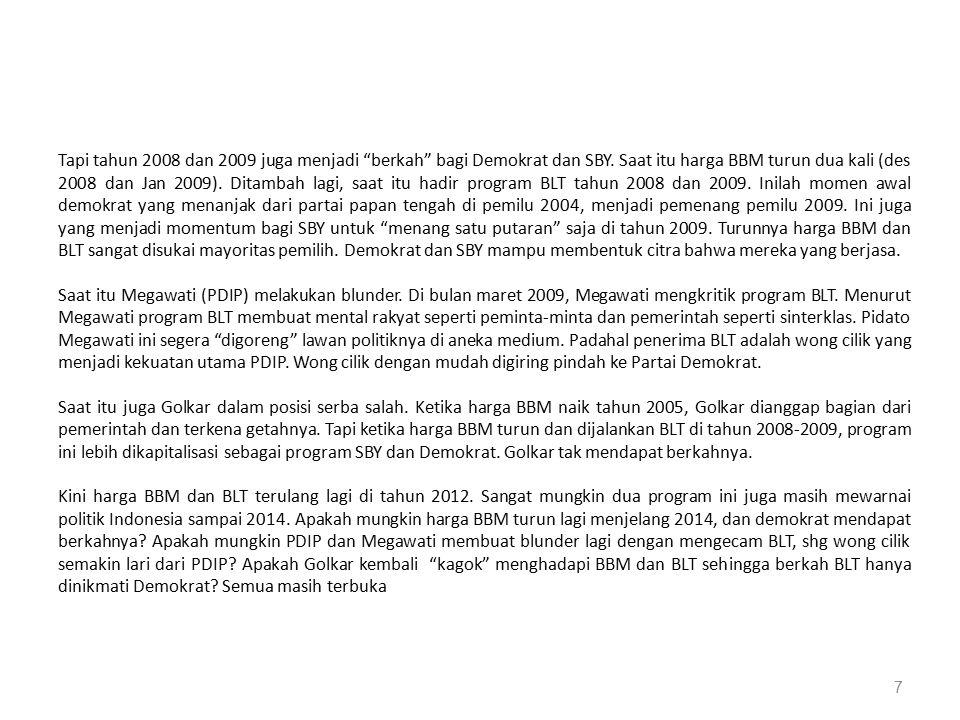 """7 Tapi tahun 2008 dan 2009 juga menjadi """"berkah"""" bagi Demokrat dan SBY. Saat itu harga BBM turun dua kali (des 2008 dan Jan 2009). Ditambah lagi, saat"""