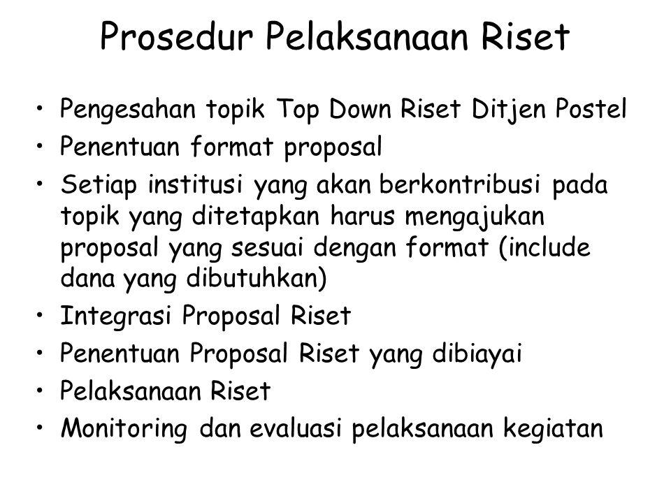 Prosedur Pelaksanaan Riset Pengesahan topik Top Down Riset Ditjen Postel Penentuan format proposal Setiap institusi yang akan berkontribusi pada topik