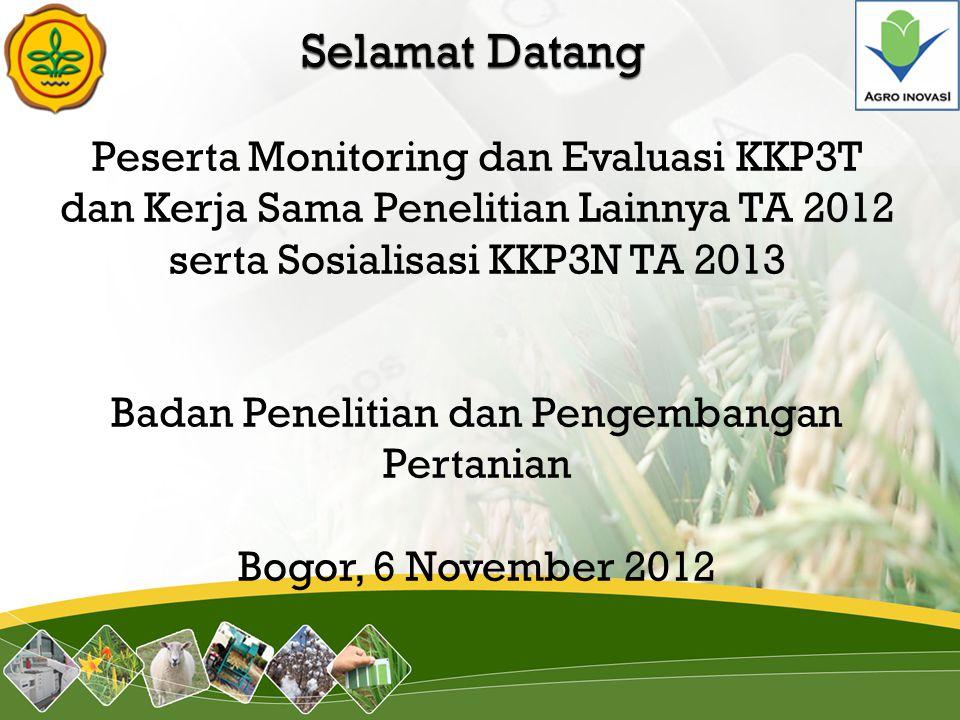 Peserta Monitoring dan Evaluasi KKP3T dan Kerja Sama Penelitian Lainnya TA 2012 serta Sosialisasi KKP3N TA 2013 Badan Penelitian dan Pengembangan Pert