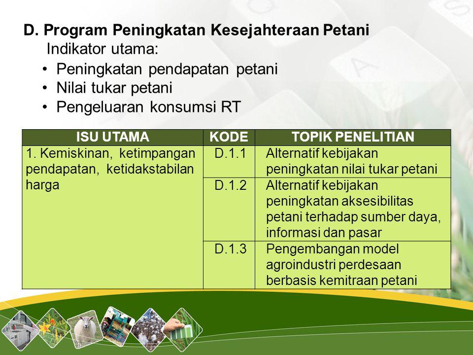 ISU UTAMAKODETOPIK PENELITIAN 1. Kemiskinan, ketimpangan pendapatan, ketidakstabilan harga D.1.1Alternatif kebijakan peningkatan nilai tukar petani D.