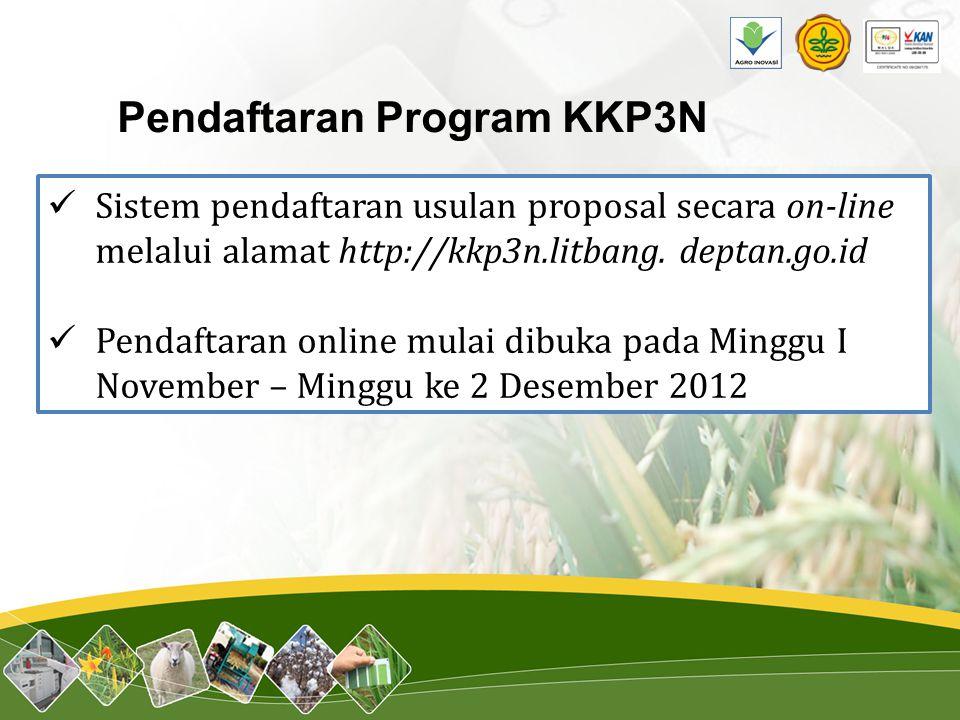 Pendaftaran Program KKP3N Sistem pendaftaran usulan proposal secara on-line melalui alamat http://kkp3n.litbang. deptan.go.id Pendaftaran online mulai