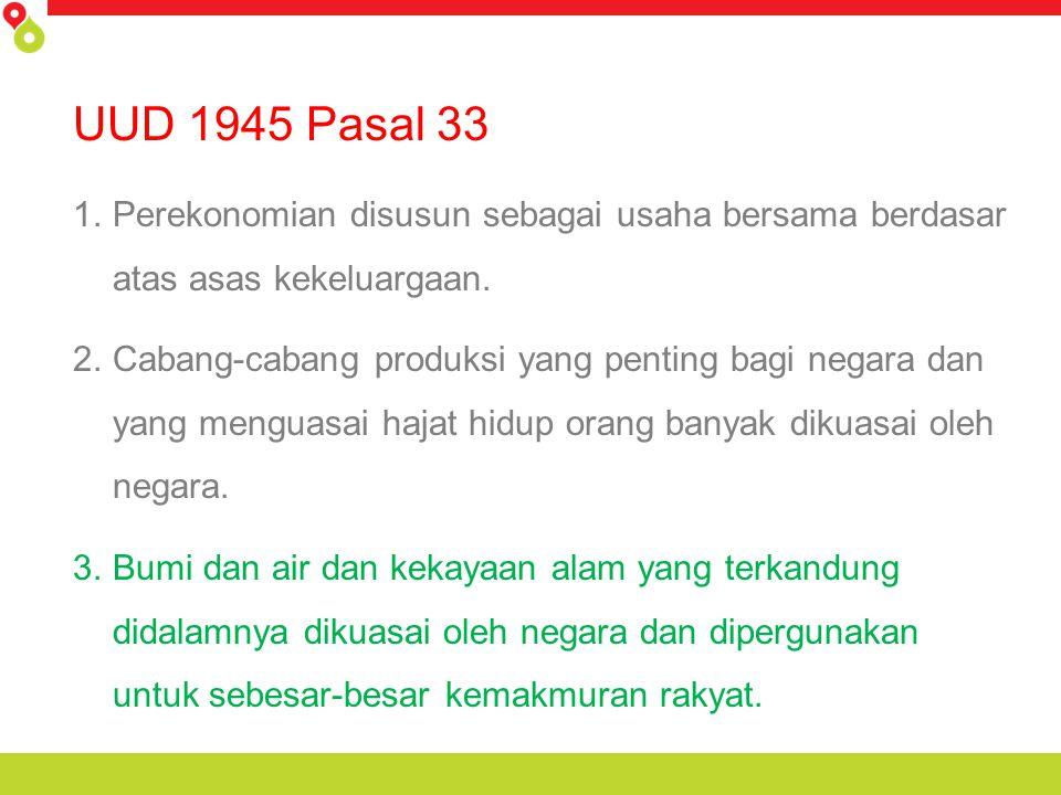 UUD 1945 Pasal 33 1.Perekonomian disusun sebagai usaha bersama berdasar atas asas kekeluargaan. 2.Cabang-cabang produksi yang penting bagi negara dan