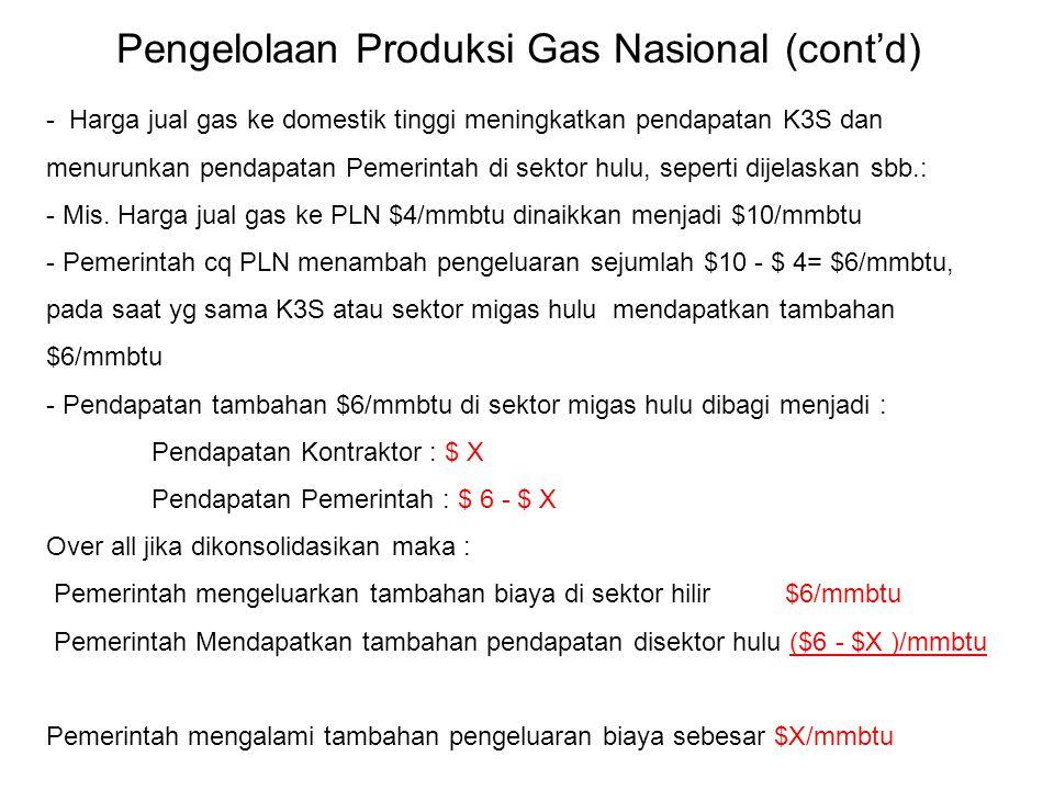 - Harga jual gas ke domestik tinggi meningkatkan pendapatan K3S dan menurunkan pendapatan Pemerintah di sektor hulu, seperti dijelaskan sbb.: - Mis. H