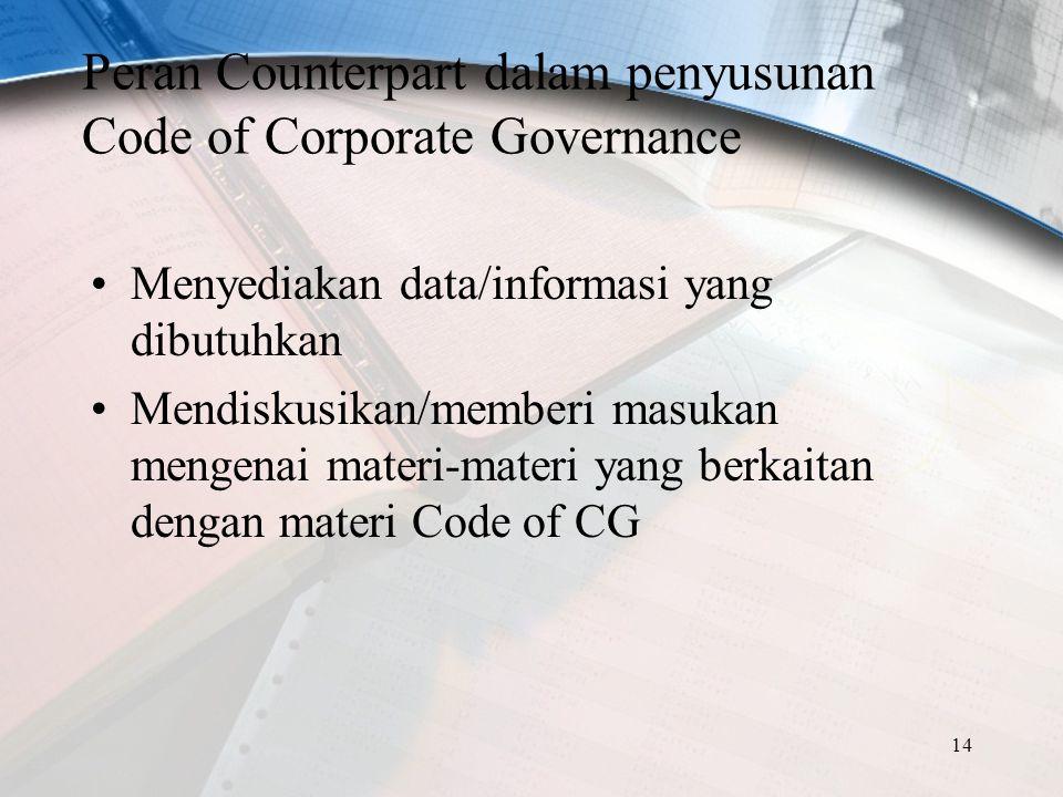 14 Peran Counterpart dalam penyusunan Code of Corporate Governance Menyediakan data/informasi yang dibutuhkan Mendiskusikan/memberi masukan mengenai m