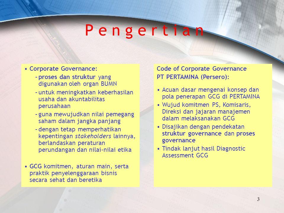 3 P e n g e r t i a n Corporate Governance: –proses dan struktur yang digunakan oleh organ BUMN –untuk meningkatkan keberhasilan usaha dan akuntabilit