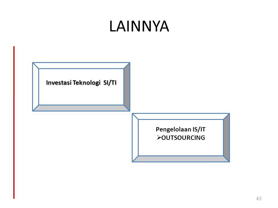 LAINNYA 43 Investasi Teknologi SI/TI Pengelolaan IS/IT  OUTSOURCING