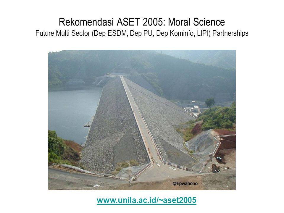 Rekomendasi ASET 2005: Moral Science Future Multi Sector (Dep ESDM, Dep PU, Dep Kominfo, LIPI) Partnerships www.unila.ac.id/~aset2005