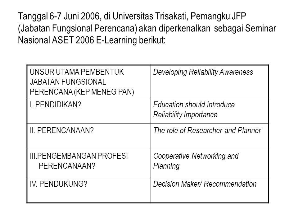 Tanggal 6-7 Juni 2006, di Universitas Trisakati, Pemangku JFP (Jabatan Fungsional Perencana) akan diperkenalkan sebagai Seminar Nasional ASET 2006 E-Learning berikut: UNSUR UTAMA PEMBENTUK JABATAN FUNGSIONAL PERENCANA (KEP MENEG PAN) Developing Reliability Awareness I.