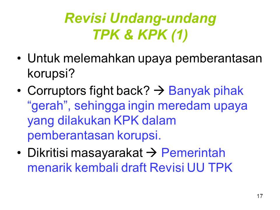 "17 Revisi Undang-undang TPK & KPK (1) Untuk melemahkan upaya pemberantasan korupsi? Corruptors fight back?  Banyak pihak ""gerah"", sehingga ingin mere"