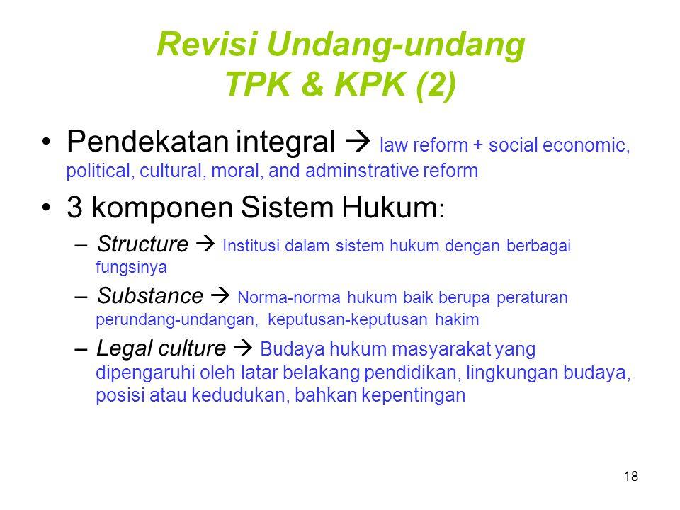 18 Revisi Undang-undang TPK & KPK (2) Pendekatan integral  law reform + social economic, political, cultural, moral, and adminstrative reform 3 kompo