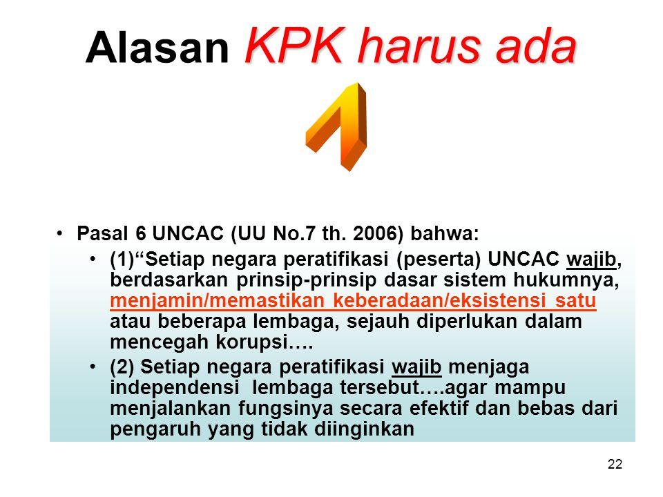 """22 KPK harus ada Alasan KPK harus ada Pasal 6 UNCAC (UU No.7 th. 2006) bahwa: (1)""""Setiap negara peratifikasi (peserta) UNCAC wajib, berdasarkan prinsi"""