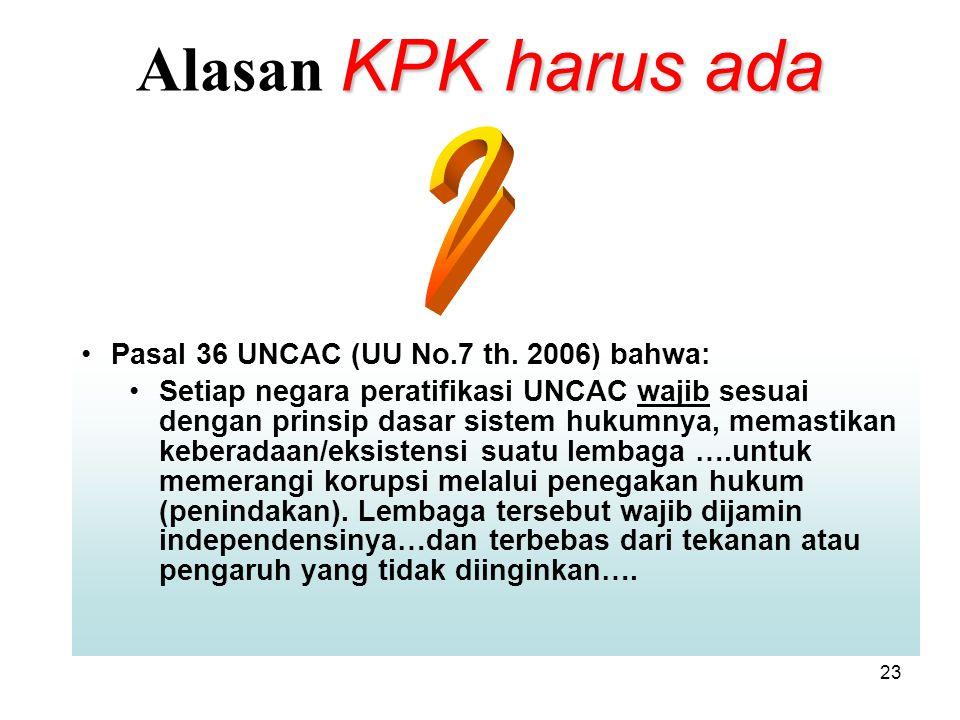 23 KPK harus ada Alasan KPK harus ada Pasal 36 UNCAC (UU No.7 th. 2006) bahwa: Setiap negara peratifikasi UNCAC wajib sesuai dengan prinsip dasar sist