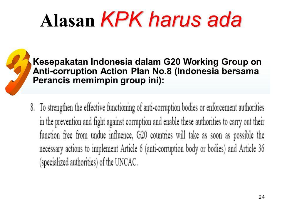 24 KPK harus ada Alasan KPK harus ada Kesepakatan Indonesia dalam G20 Working Group on Anti-corruption Action Plan No.8 (Indonesia bersama Perancis m