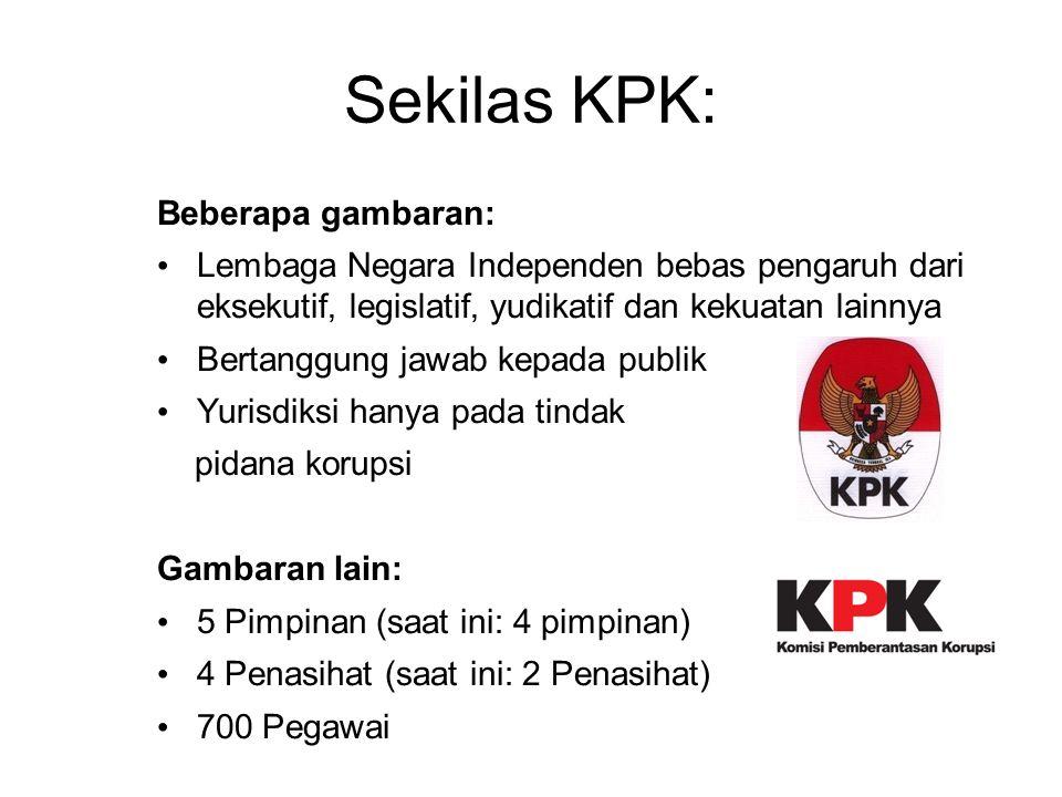 Sekilas KPK: Beberapa gambaran: Lembaga Negara Independen bebas pengaruh dari eksekutif, legislatif, yudikatif dan kekuatan lainnya Bertanggung jawab