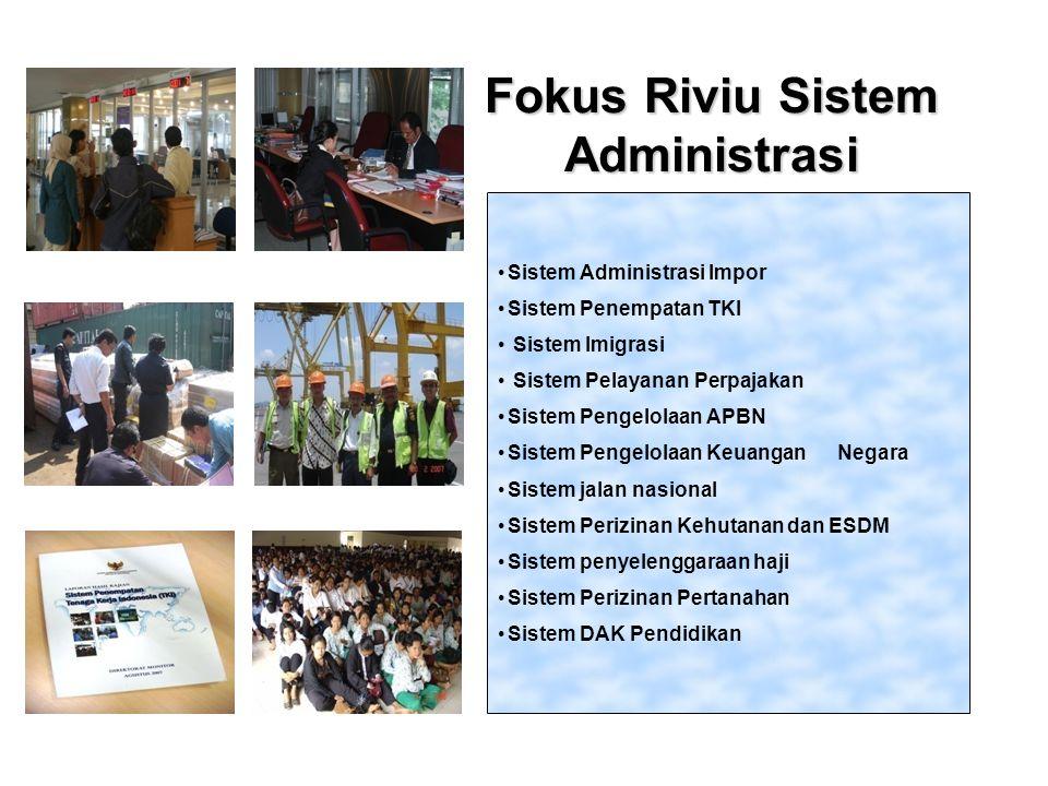 Fokus Riviu Sistem Administrasi Sistem Administrasi Impor Sistem Penempatan TKI Sistem Imigrasi Sistem Pelayanan Perpajakan Sistem Pengelolaan APBN Si