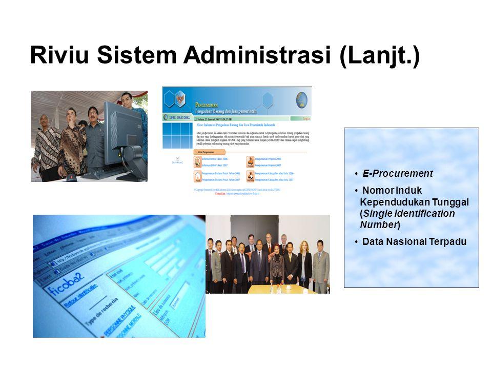 Riviu Sistem Administrasi (Lanjt.) E-Procurement Nomor Induk Kependudukan Tunggal (Single Identification Number) Data Nasional Terpadu