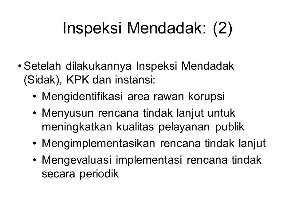 Inspeksi Mendadak: (2) Setelah dilakukannya Inspeksi Mendadak (Sidak), KPK dan instansi: Mengidentifikasi area rawan korupsi Menyusun rencana tindak l