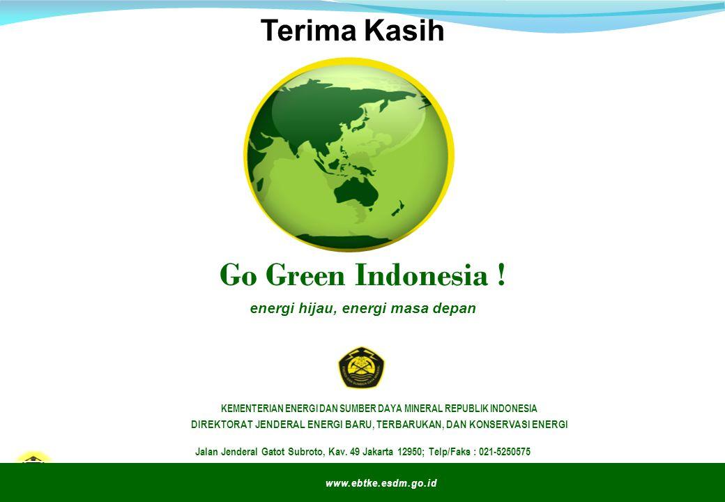 ESDM untuk Kesejahteraan Rakyat Go Green Indonesia ! energi hijau, energi masa depan www.ebtke.esdm.go.id Jalan Jenderal Gatot Subroto, Kav. 49 Jakart