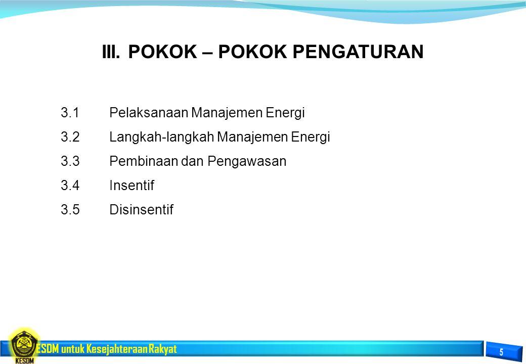 ESDM untuk Kesejahteraan Rakyat III. POKOK – POKOK PENGATURAN 3.1Pelaksanaan Manajemen Energi 3.2Langkah-langkah Manajemen Energi 3.3Pembinaan dan Pen