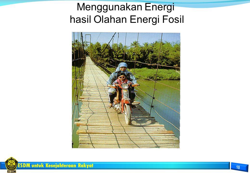 ESDM untuk Kesejahteraan Rakyat Menggunakan Energi hasil Olahan Energi Fosil