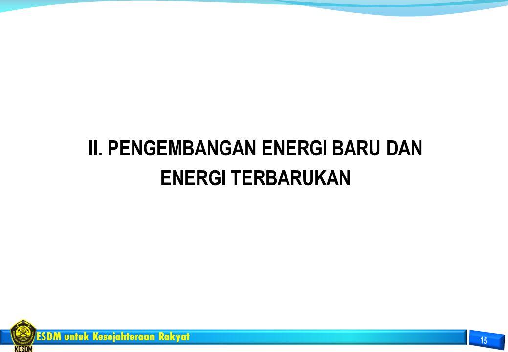 ESDM untuk Kesejahteraan Rakyat II. PENGEMBANGAN ENERGI BARU DAN ENERGI TERBARUKAN