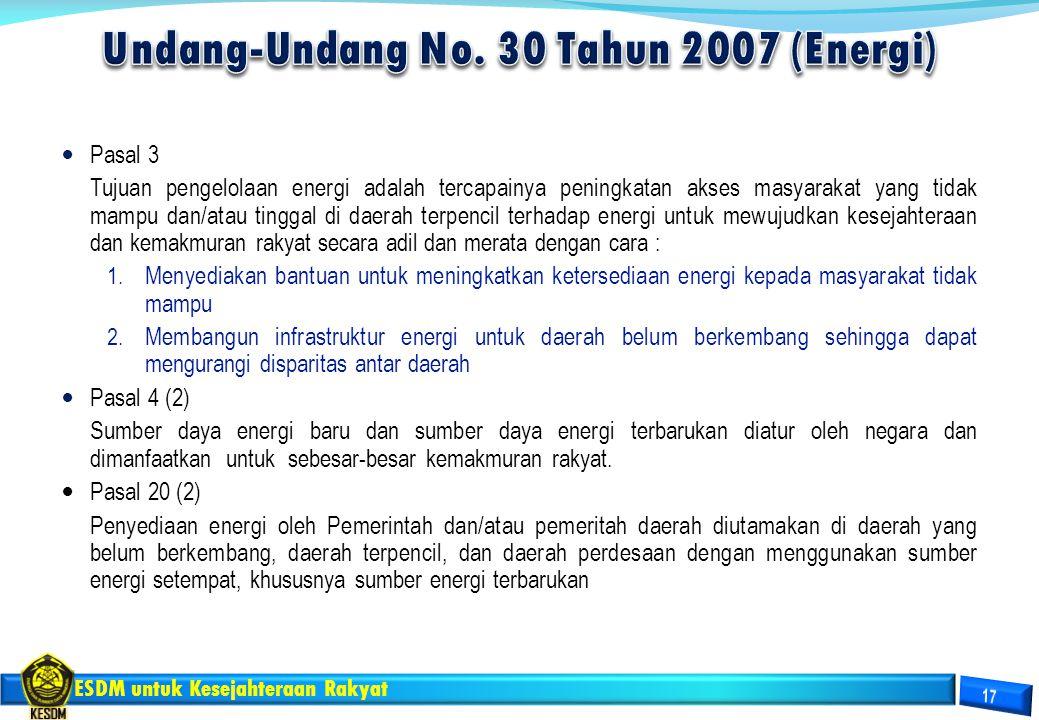 ESDM untuk Kesejahteraan Rakyat Pasal 3 Tujuan pengelolaan energi adalah tercapainya peningkatan akses masyarakat yang tidak mampu dan/atau tinggal di