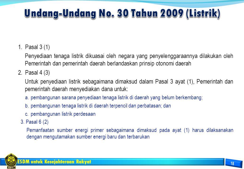 ESDM untuk Kesejahteraan Rakyat 1. Pasal 3 (1) Penyediaan tenaga listrik dikuasai oleh negara yang penyelenggaraannya dilakukan oleh Pemerintah dan pe
