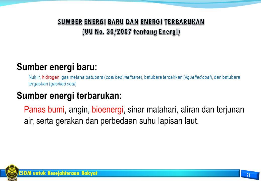 ESDM untuk Kesejahteraan Rakyat Sumber energi baru: Nuklir, hidrogen, gas metana batubara ( coal bed methane ), batubara tercairkan ( liquefied coal )