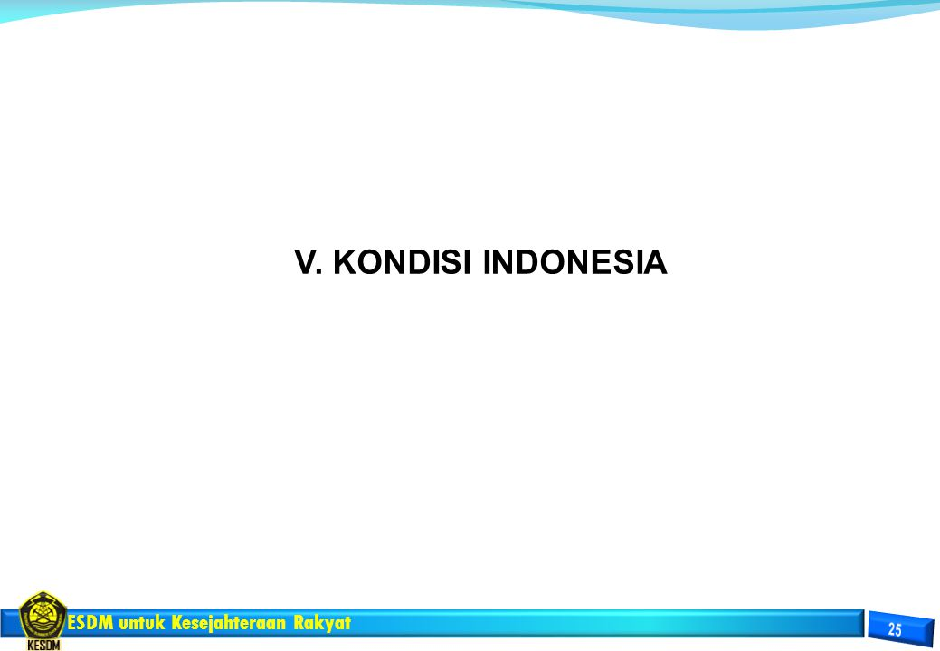 ESDM untuk Kesejahteraan Rakyat V. KONDISI INDONESIA