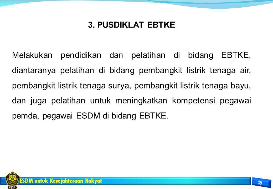 ESDM untuk Kesejahteraan Rakyat 3. PUSDIKLAT EBTKE Melakukan pendidikan dan pelatihan di bidang EBTKE, diantaranya pelatihan di bidang pembangkit list