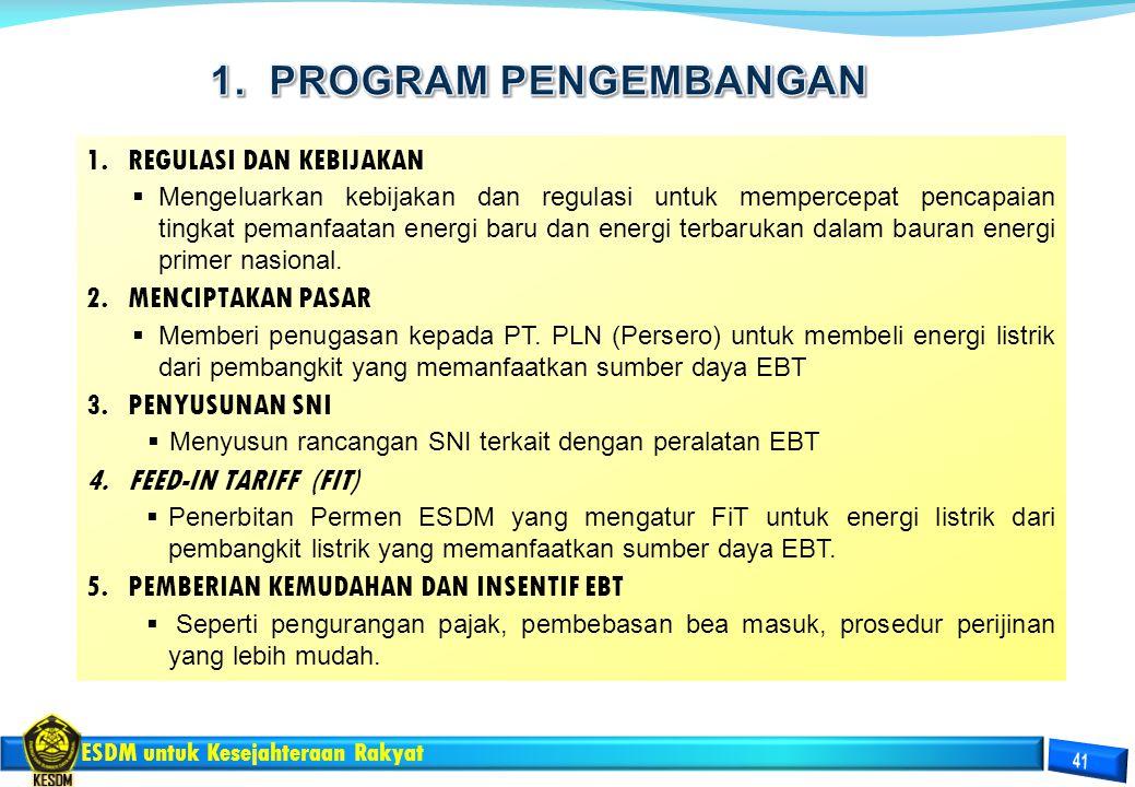 ESDM untuk Kesejahteraan Rakyat 1.REGULASI DAN KEBIJAKAN  Mengeluarkan kebijakan dan regulasi untuk mempercepat pencapaian tingkat pemanfaatan energi