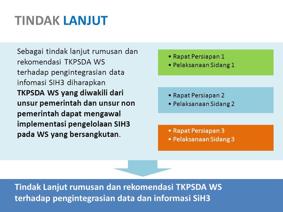 Sebagai tindak lanjut rumusan dan rekomendasi TKPSDA WS terhadap pengintegrasian data infomasi SIH3 diharapkan TKPSDA WS yang diwakili dari unsur pemerintah dan unsur non pemerintah dapat mengawal implementasi pengelolaan SIH3 pada WS yang bersangkutan.