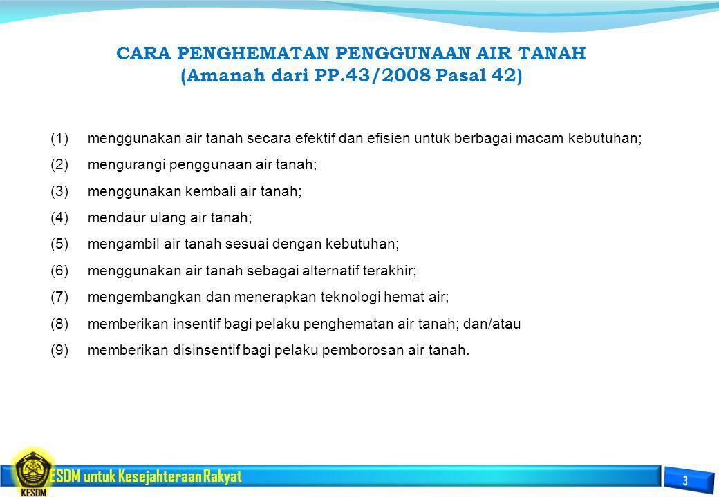 ESDM untuk Kesejahteraan Rakyat CARA PENGHEMATAN PENGGUNAAN AIR TANAH (Amanah dari PP.43/2008 Pasal 42) (1)menggunakan air tanah secara efektif dan ef