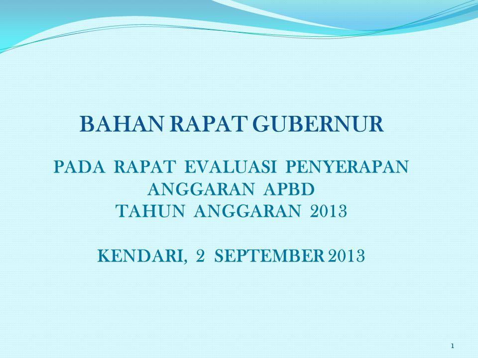 BAHAN RAPAT GUBERNUR PADA RAPAT EVALUASI PENYERAPAN ANGGARAN APBD TAHUN ANGGARAN 2013 KENDARI, 2 SEPTEMBER 2013 1